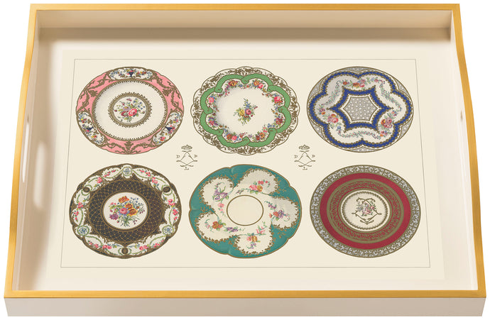 Porcelain, Plates & Cups, large cream tray