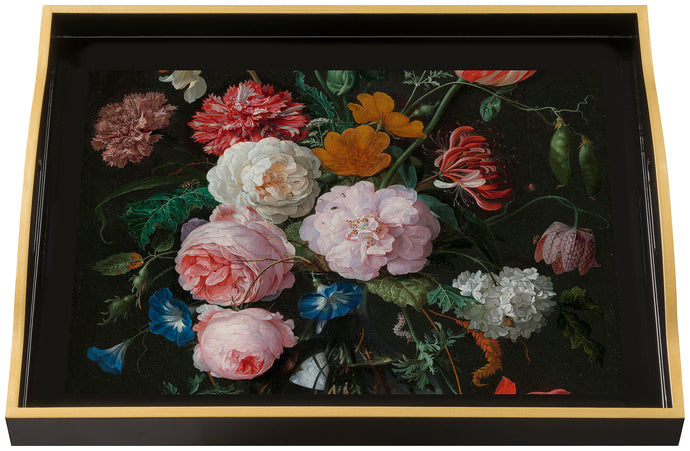 Flowers, large black tray