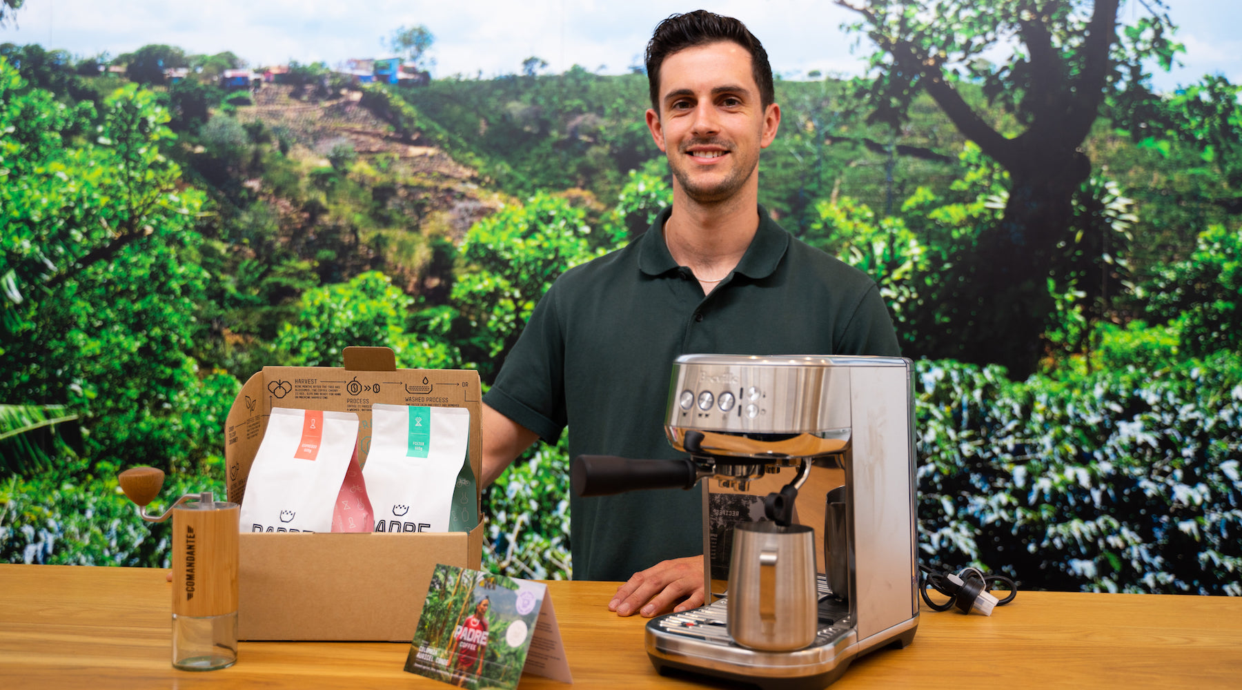 Ashton brews our Colombia Auricel Conde (honey) coffee!