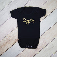 Gold Glitter on Black Personalized Bodysuit