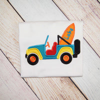 Beach Car with Personalized Surf Board Shirt