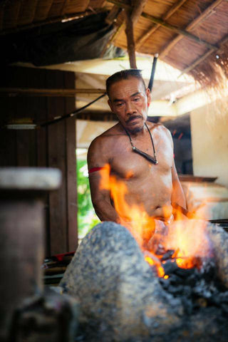 Thai Blacksmith making Hand Forge Knives, Handmade Traditional Dha Swords. High Carbon Steel & Leaf Spring