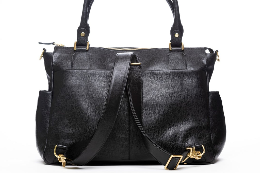 Frankie Lou convertible leather diaper bag