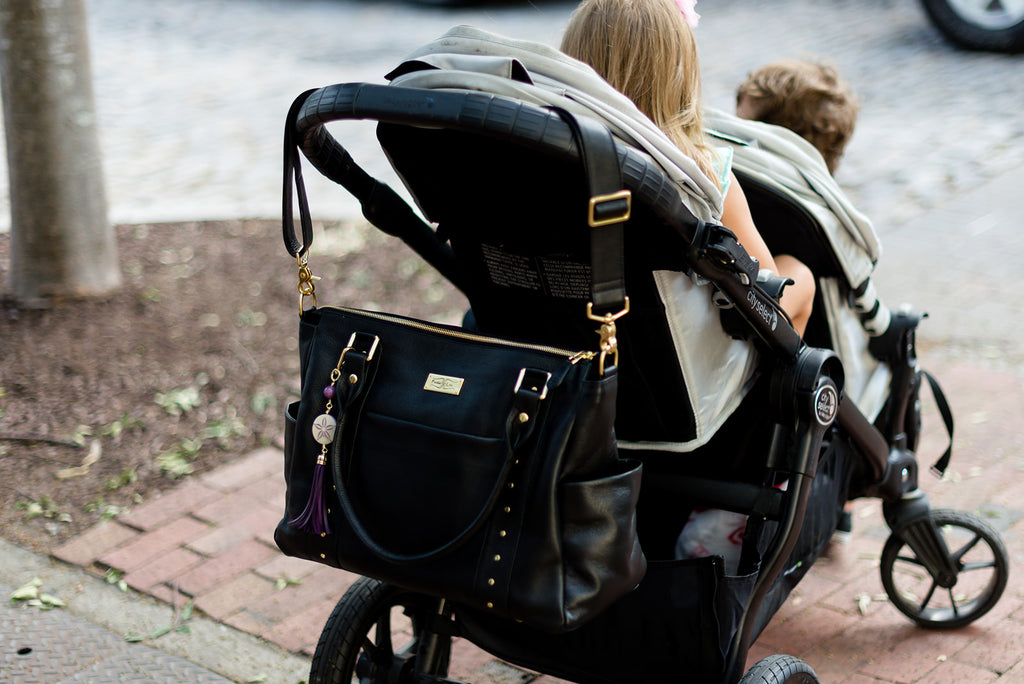 Frankie Lou Ivonne leather diaper bag on stroller