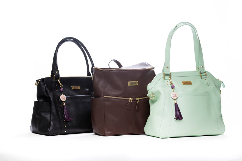 The Frankie Lou Ivonne, Maria, and Joann leather diaper bags