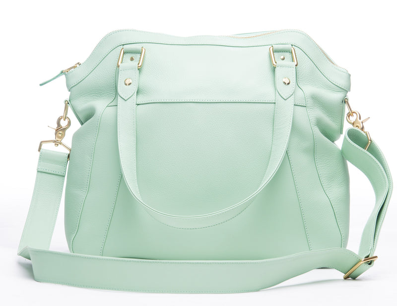 Frankie Lou Joann pistachio leather diaper bag with cross-body strap back view