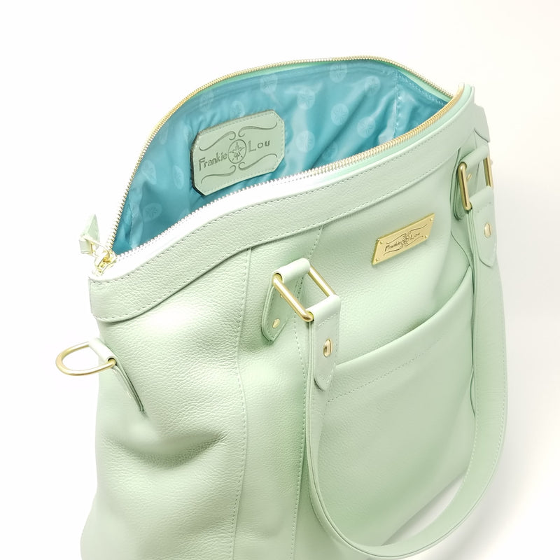 Frankie Lou Joann pistachio leather diaper bag with blue lining