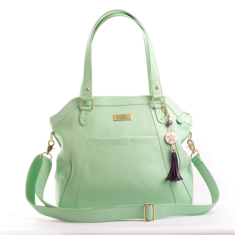 Frankie Lou Joann pistachio leather diaper bag with cross-body strap