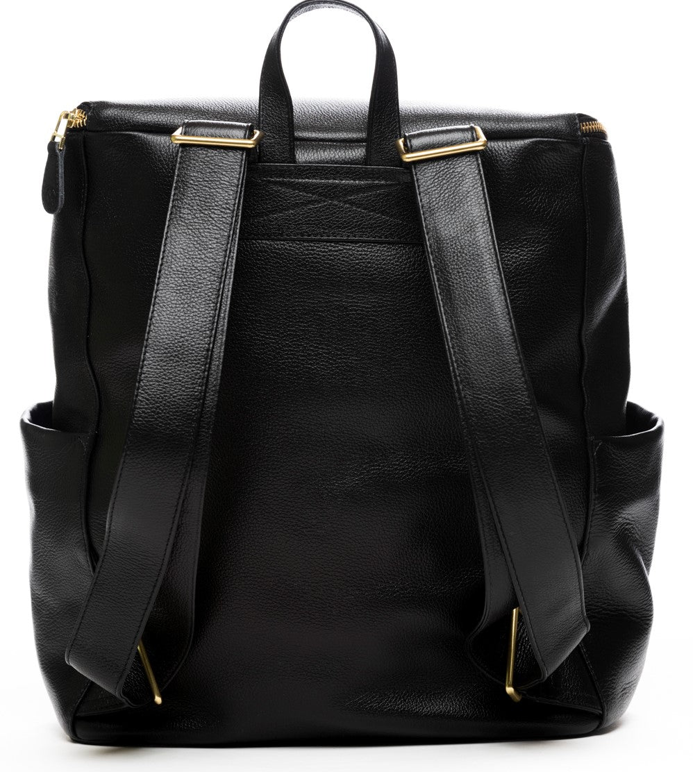 Frankie Lou Maria leather diaper bag backpack in black showing backpack straps