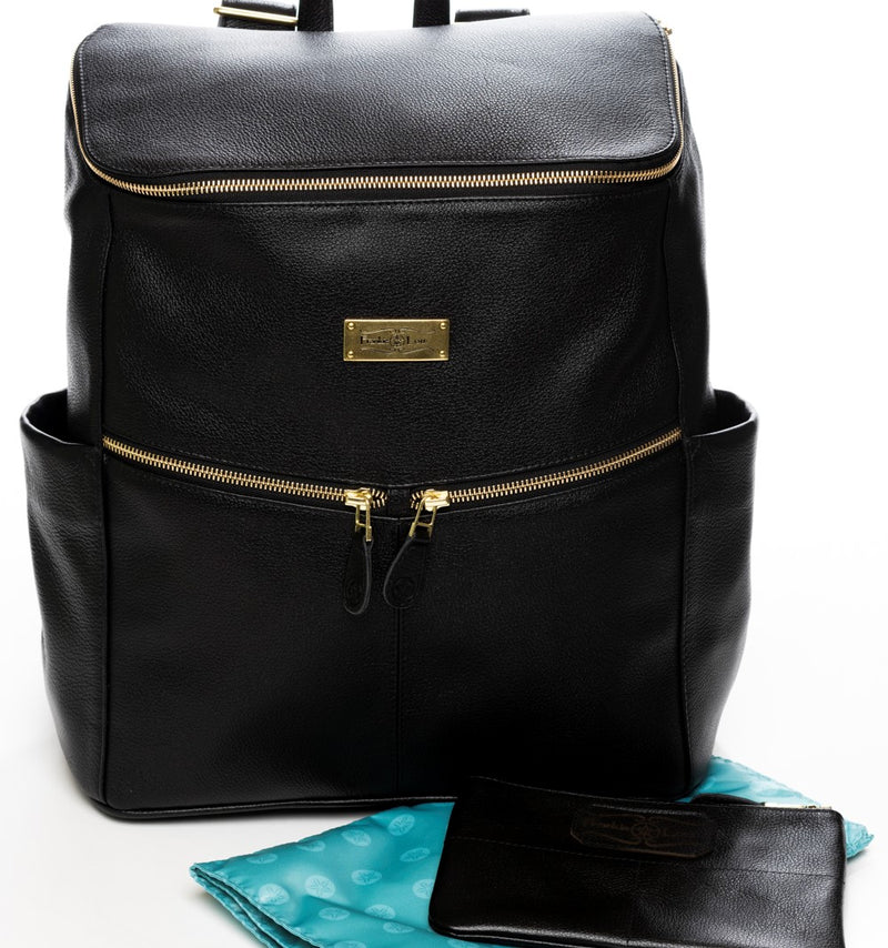 Frankie Lou Maria leather diaper bag backpack in black with blue lining and matching pouch