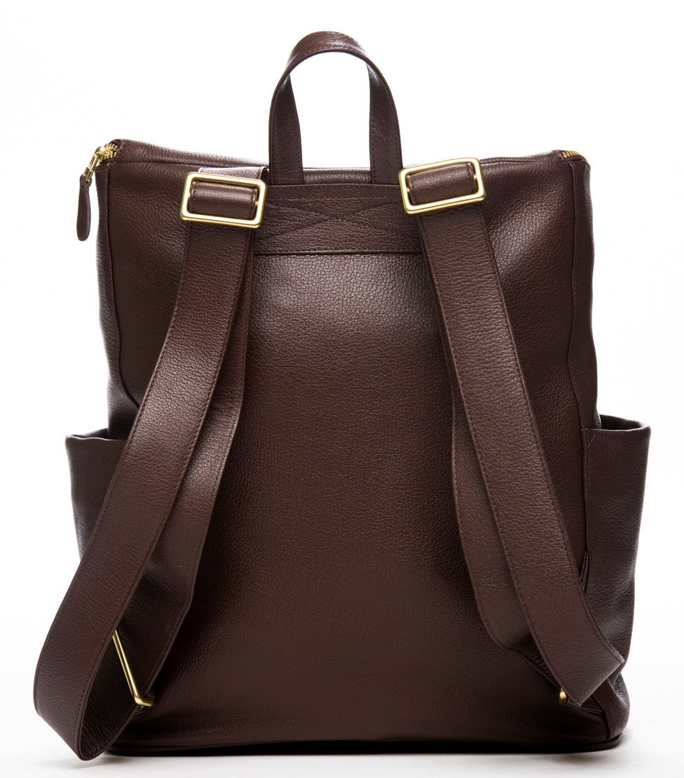 Frankie Lou Maria leather diaper bag in brown showing backpack straps