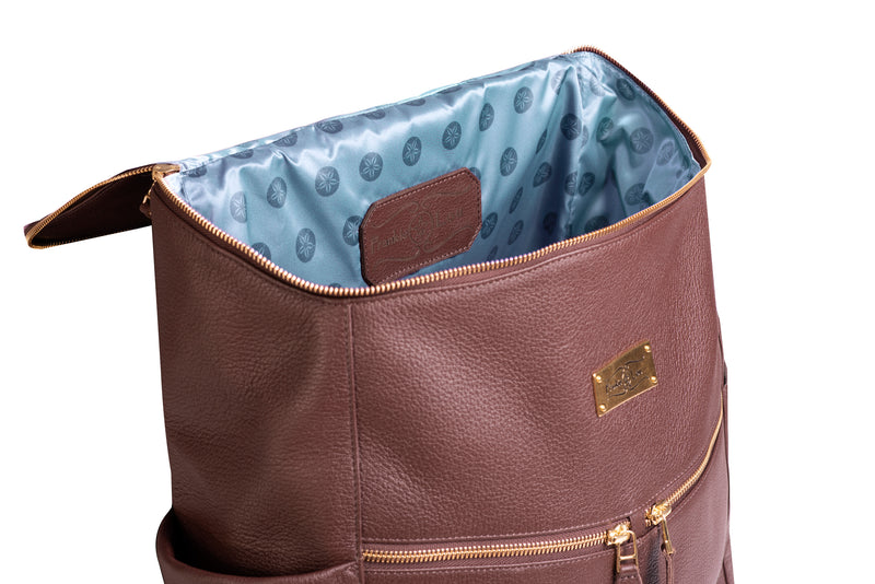 Frankie Lou Maria leather diaper bag backpack in brown with blue lining
