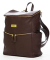 Frankie Lou Maria leather diaper bag backpack in brown with zippered front pockets