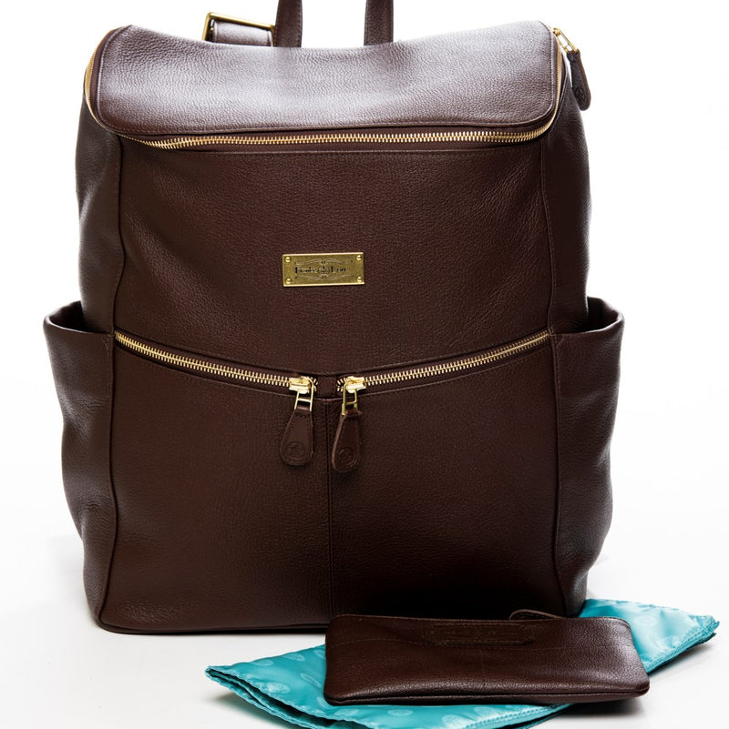 Frankie Lou Maria leather diaper bag backpack in brown with blue lining and matching mommy pouch
