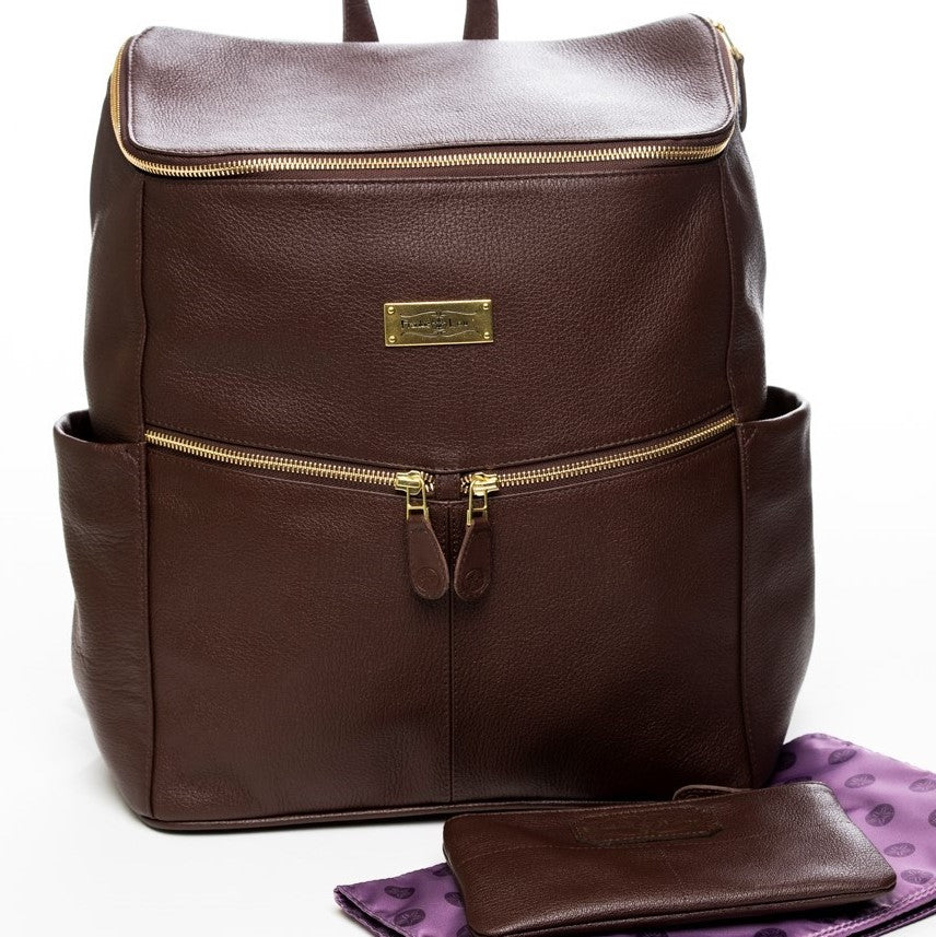 Frankie Lou Maria leather diaper bag backpack in brown with purple lining and matching mommy pouch