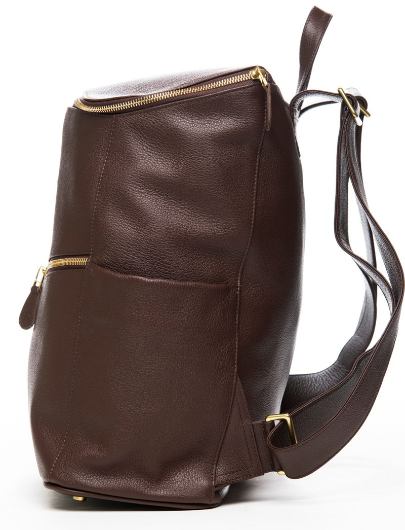 Frankie Lou Maria leather diaper bag backpack in brown with side bottle pockets