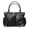 Frankie Lou Ivonne convertible leather diaper bag in black showing backpack straps