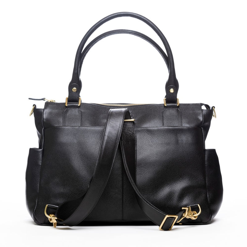 Frankie Lou Ivonne convertible leather diaper bag in black with backpack straps