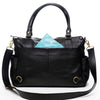 Frankie Lou Ivonne convertible leather diaper bag in black with blue lining