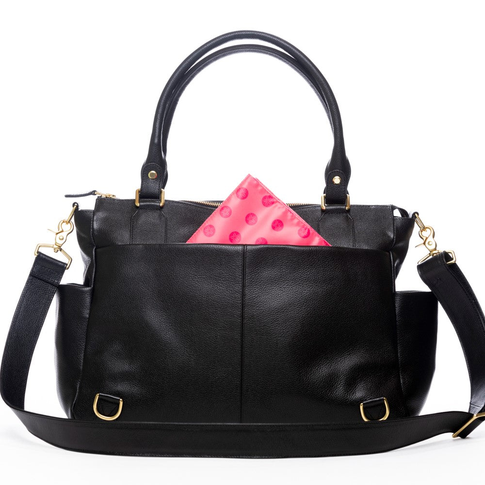 Frankie Lou Ivonne convertible leather diaper bag in black with pink lining