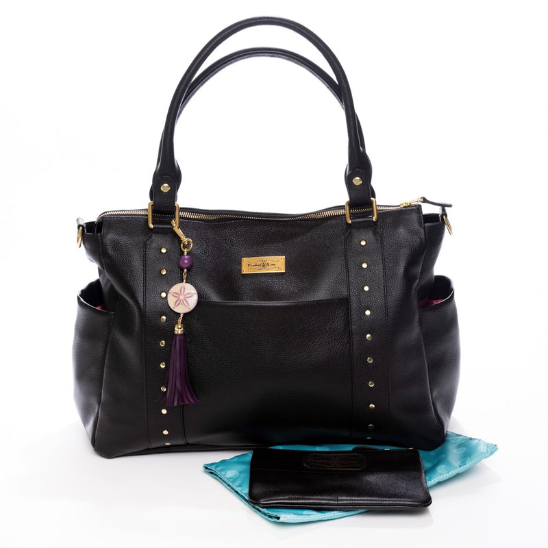 Frankie Lou Ivonne convertible leather diaper bag in black with matching changing pad and mommy pouch