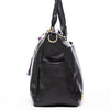 Frankie Lou Ivonne convertible leather diaper bag in black showing side bottle pocket