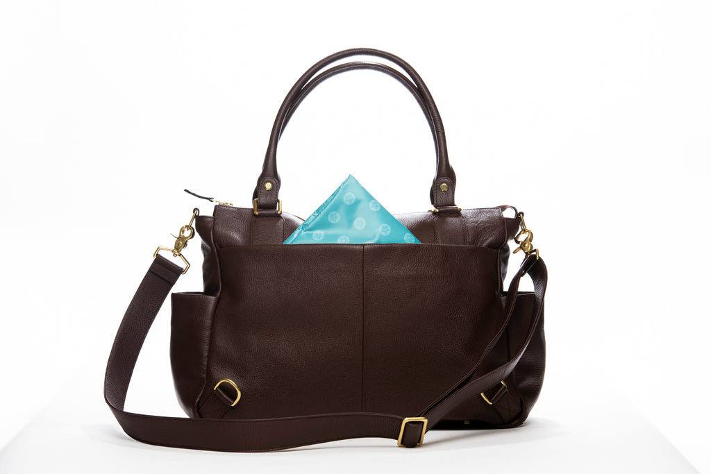 Frankie Lou Ivonne convertible leather diaper bag in brown with blue lining