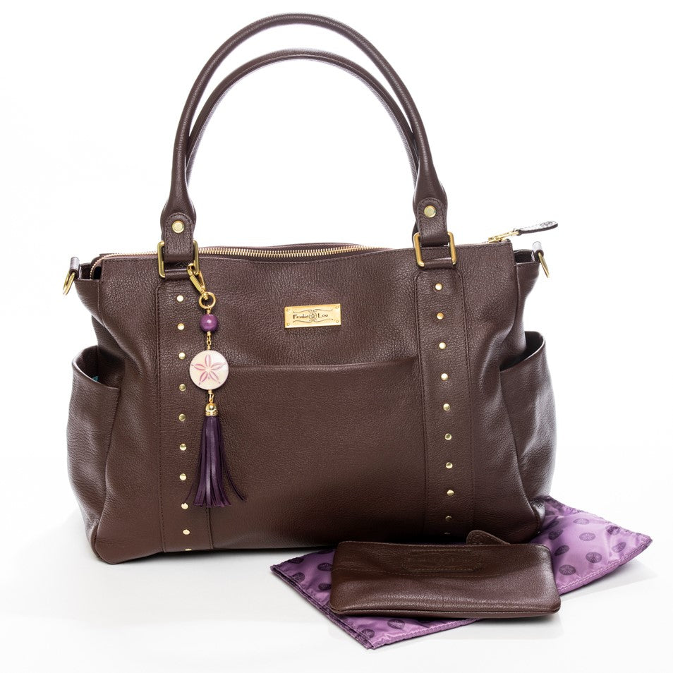 Frankie Lou Ivonne convertible leather diaper bag in brown with matching changing pad and mommy pouch
