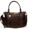Frankie Lou Ivonne convertible leather diaper bag in brown with cross body strap
