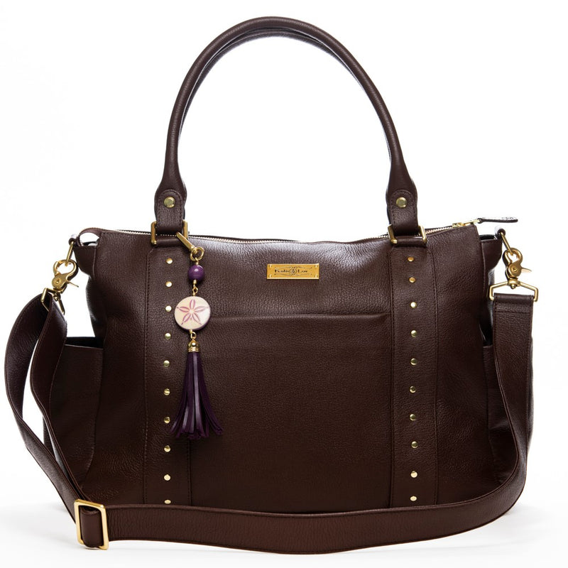 Frankie Lou Ivonne convertible leather diaper bag in brown