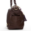 Frankie Lou Ivonne convertible leather diaper bag in brown with outside bottle pockets
