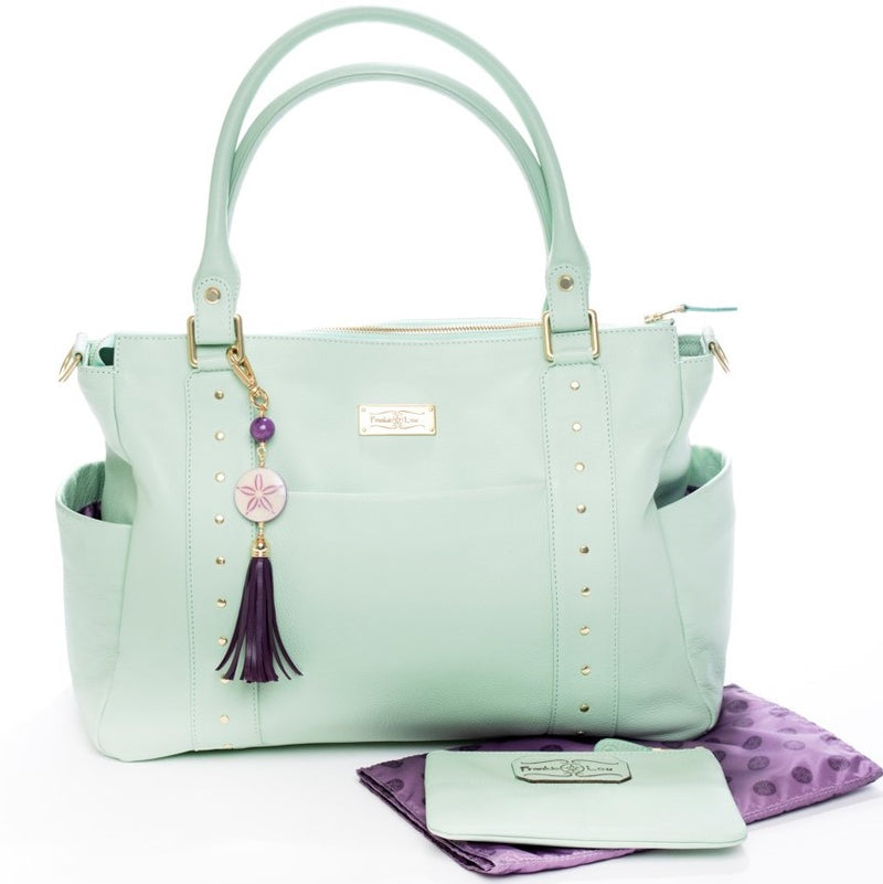 Frankie Lou Ivonne convertible leather diaper bag in pistachio with matching changing pad and mommy pouch