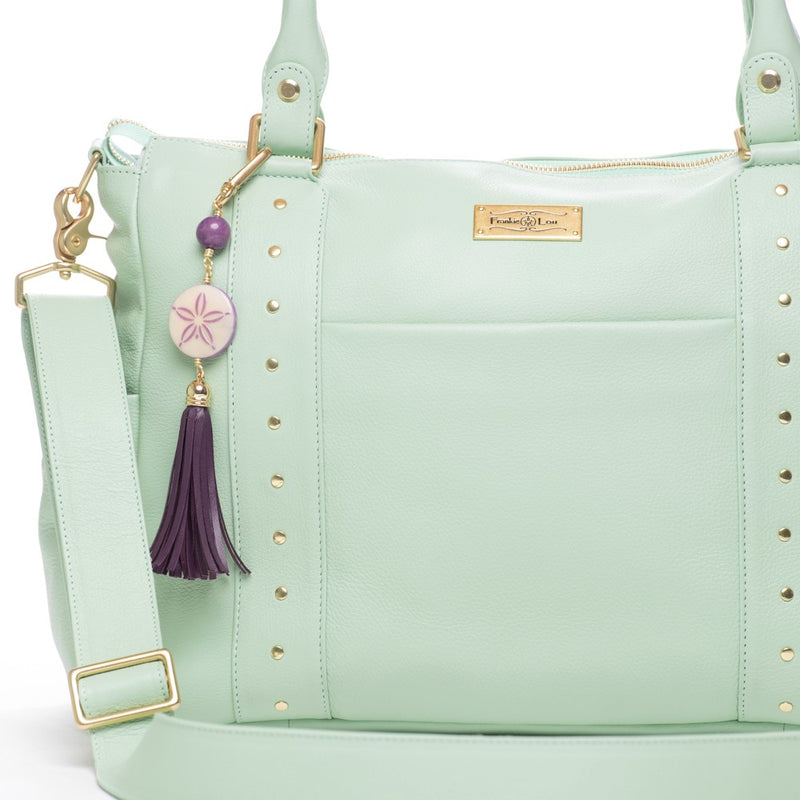 Frankie Lou Ivonne convertible leather diaper bag in pistachio