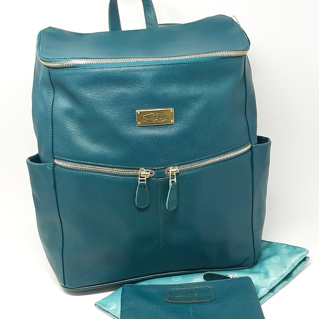 Frankie Lou Maria leather diaper bag backpack in spruce with blue lining and matching pouch