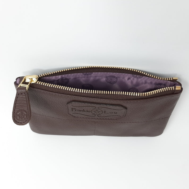Outlet Pouch in Brown with purple and Blue Lining