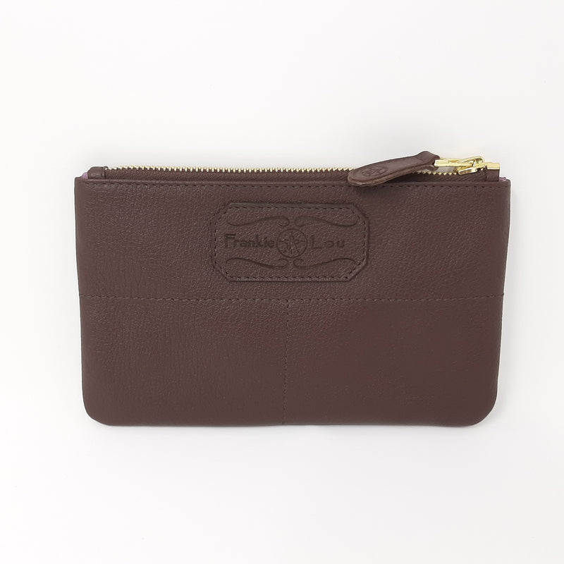 Pouch in Brown with Purple and Blue Lining