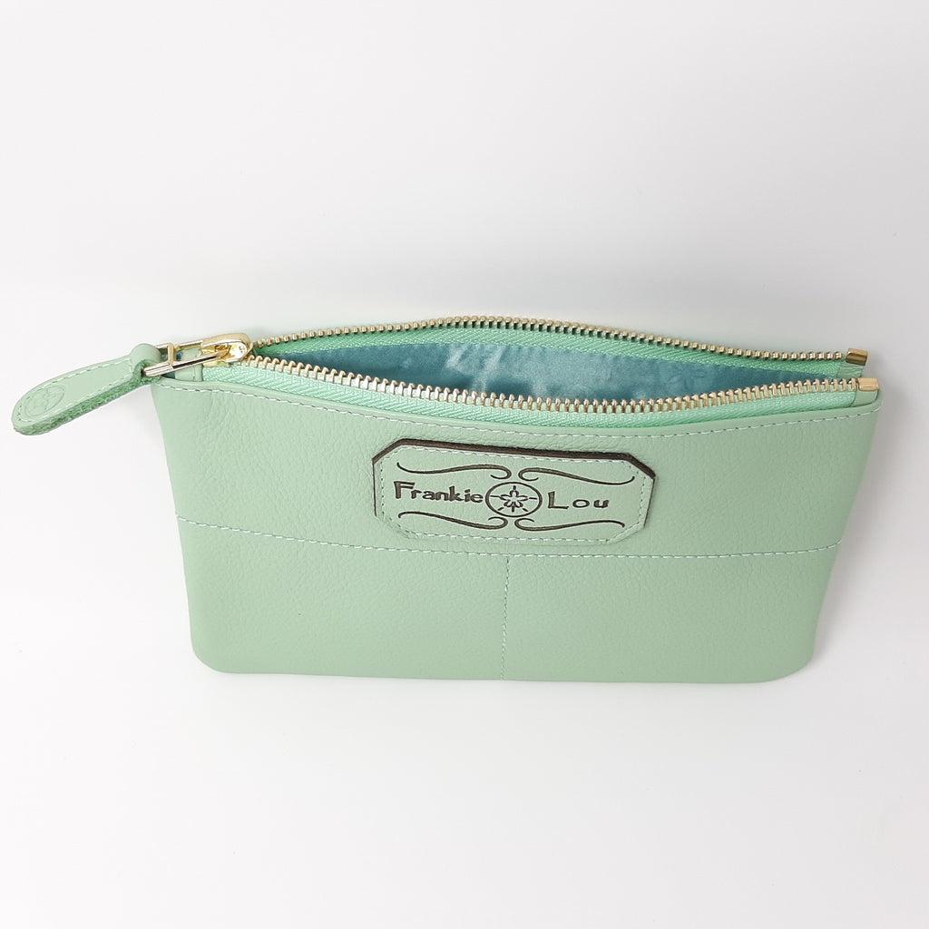 Pouch in Pistachio with Purple and Blue Lining
