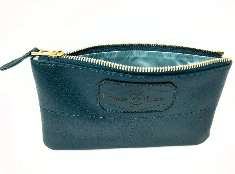 Pouch in Spruce with Purple and Blue Lining