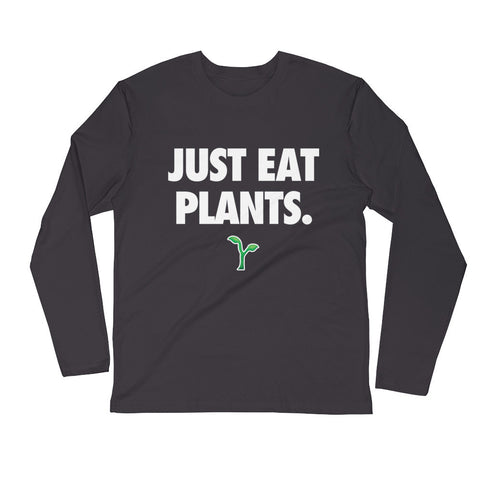 Just Eat Plants - White - Men's Long Sleeve Fitted Crew