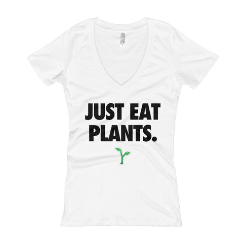 Just Eat Plants - Black - Women's V-Neck T-shirt