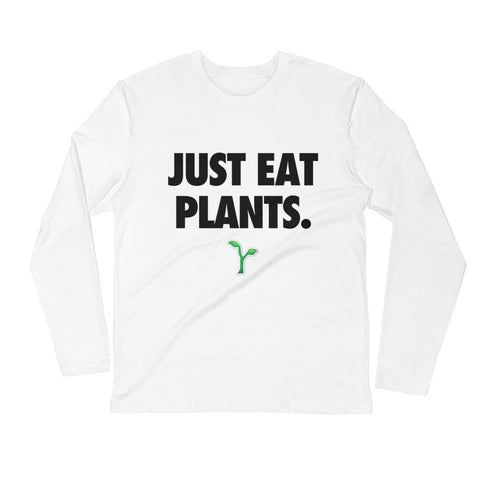 Just Eat Plants - Black - Men's Long Sleeve Fitted Crew