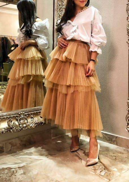 Sara Z - Ruffled tiered skirt