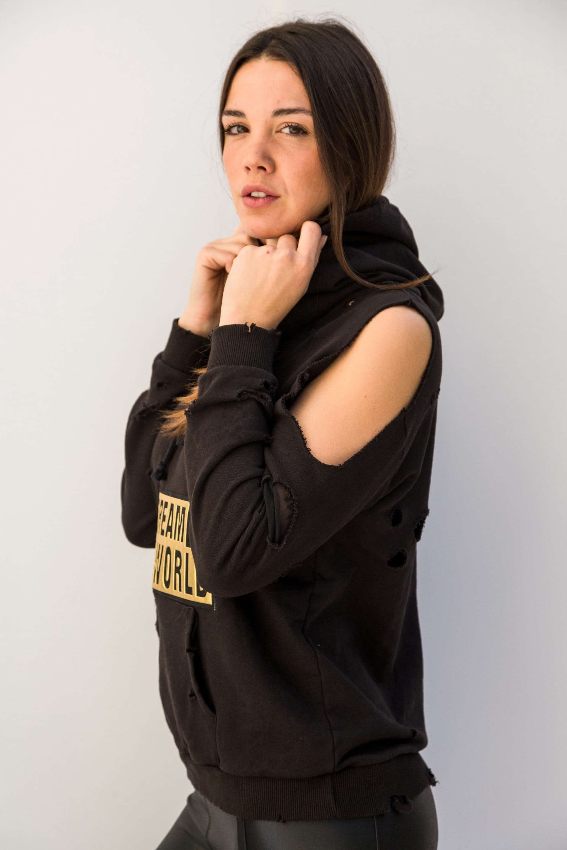 PC451 - Ripped hoodie black,Posh couture, Curated Designer at Freesigners.com