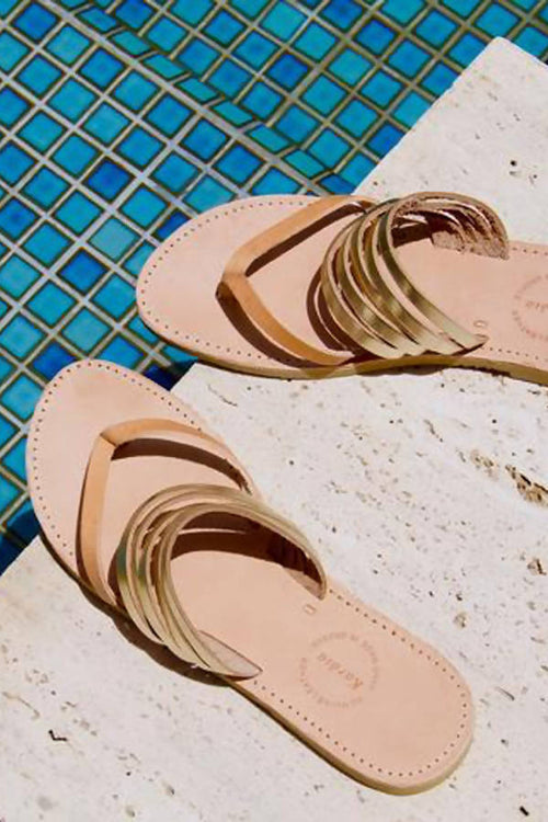 Khloe Slides with Tan and Gold leather straps,Kardia, Curated Designer at Freesigners.com