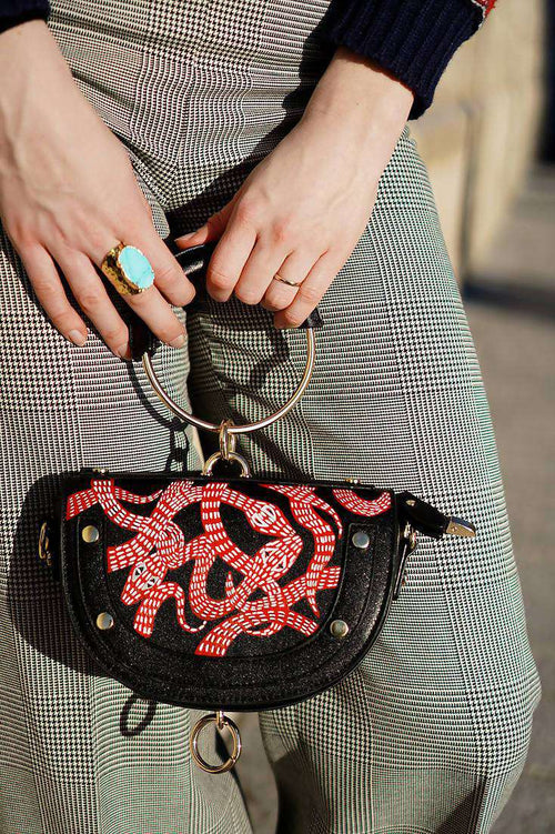 SNAKES Metallic Handle Shoulder Bag/Clutch
