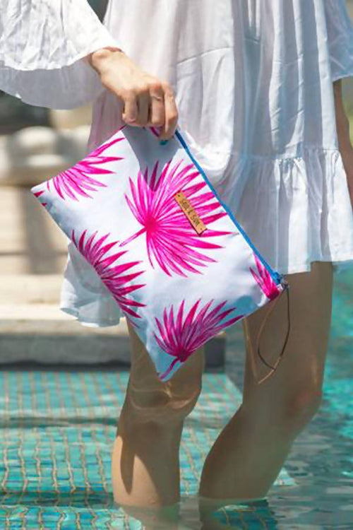 Tropical Escape Waterproof lined Bag for the Beach, Pool, Travel or Makeup,Kardia, Curated Designer at Freesigners.com