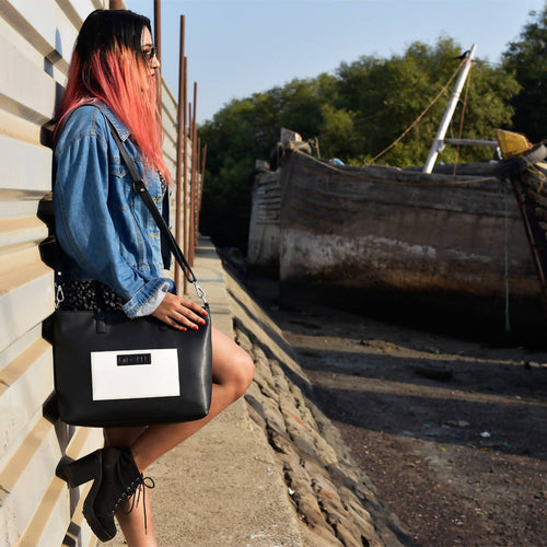 Monochrome Satchel Handbag,Midoree, Curated Designer at Freesigners.com