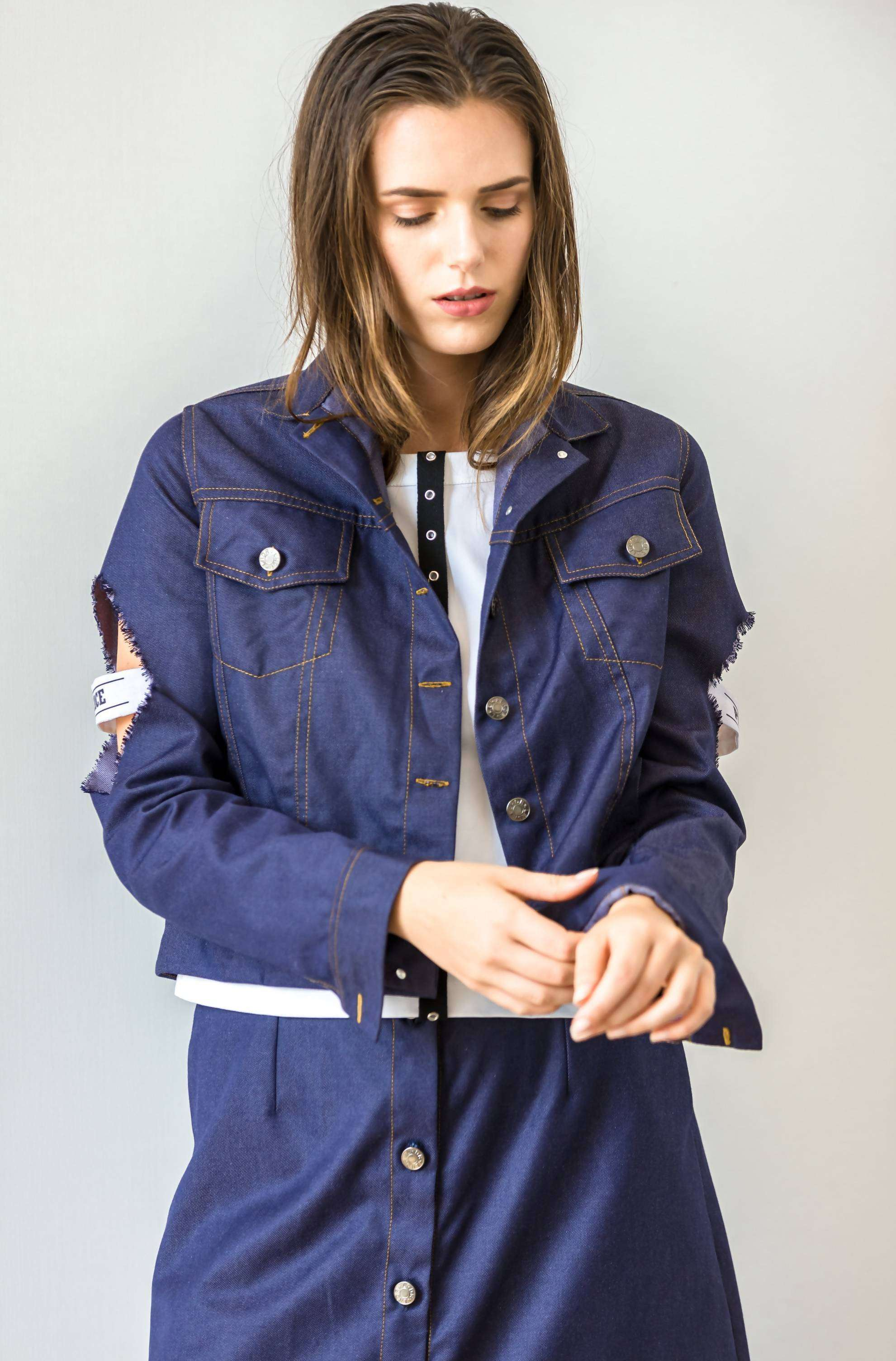 Denim Peace Jacket,ARSHYS, Curated Designer at Freesigners.com