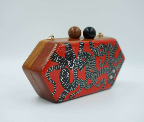 FUNKY SNAKES Wood Clutch,WOODO unique designer bags, Curated Designer at Freesigners.com