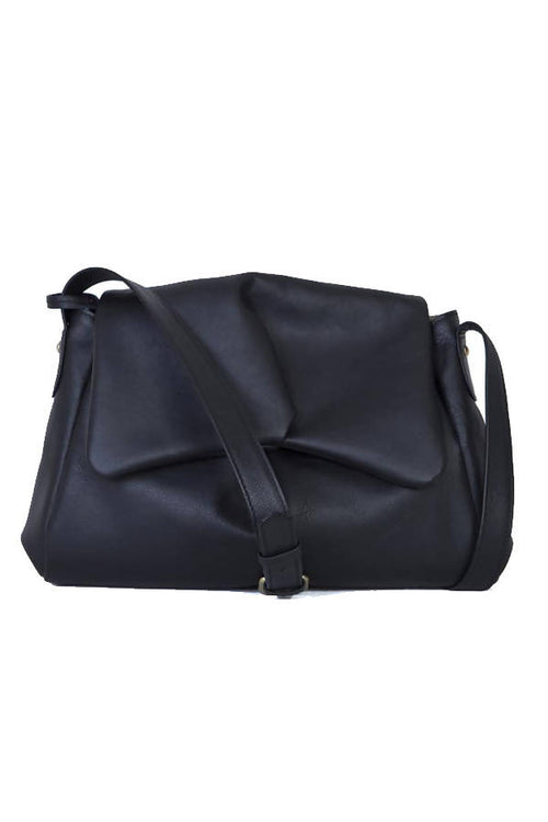Sui Midi Messenger Hand Bag in Black Leather,Kardia, Curated Designer at Freesigners.com